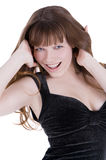 Donna felice con capelli rossi fotografia stock libera da diritti