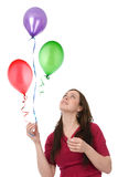 Donna felice con gli aerostati Fotografie Stock Libere da Diritti