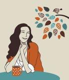 Donna felice con il caffè di mattina sulla natura illustrazione di stock