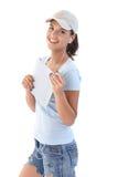 Donna felice con il calcolatore del ridurre in pani Fotografie Stock