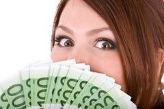 Donna felice con il gruppo di soldi. Fotografia Stock