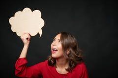 Donna felice con la bolla di pensiero Fotografia Stock Libera da Diritti