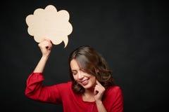 Donna felice con la bolla di pensiero Immagini Stock