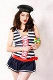 Donna felice in costume Fotografie Stock Libere da Diritti