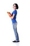 Donna felice dell'allievo con i taccuini Fotografie Stock Libere da Diritti