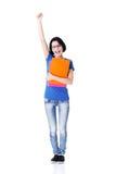 Donna felice dell'allievo con i taccuini Fotografia Stock Libera da Diritti