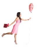 Donna felice dell'asiatico del biglietto di S. Valentino Immagine Stock Libera da Diritti