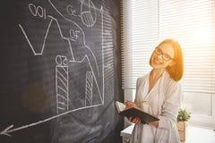 Donna felice della donna di affari al consiglio scolastico con pianificazione di programma Fotografia Stock Libera da Diritti