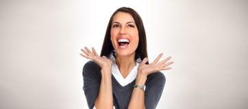 Donna felice di affari Immagine Stock