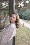 donna felice di autunno Fotografia Stock