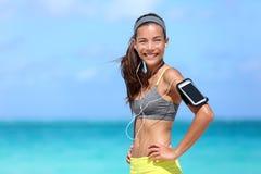 Donna felice di forma fisica che vive uno stile di vita sano di misura Immagini Stock