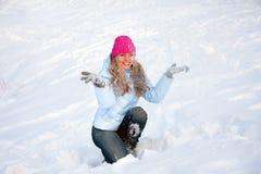 Donna felice di inverno Fotografia Stock