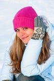 Donna felice di inverno Immagine Stock