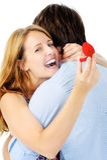 Donna felice di proposta Fotografia Stock