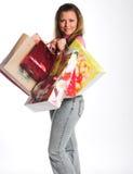 Donna felice dopo l'acquisto immagine stock