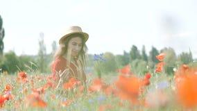 Donna felice libera in vestito rosso che gode della natura Passeggiate all'aperto della ragazza di bellezza su un campo del papav video d archivio