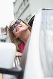 Donna felice nel sedile di driver Immagine Stock Libera da Diritti