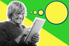 Donna felice senior che usando ipad, collage di arte Immagini Stock Libere da Diritti
