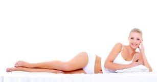 Donna felice sexy con il bello ente perfetto Fotografie Stock Libere da Diritti