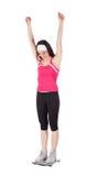 Donna felice su una scala per il concetto di perdita di peso Fotografia Stock Libera da Diritti