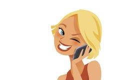Donna felice sul telefono Immagini Stock