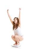 Donna felice sulla scala. immagine stock libera da diritti