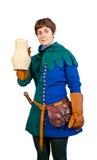 Donna felice in vestito medievale che tiene una brocca Immagine Stock