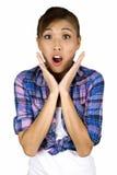 Donna femminile asiatica molto sorpresa. Fotografia Stock