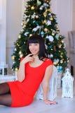 Donna femminile attraente che si siede e che posa nello studio Immagine Stock