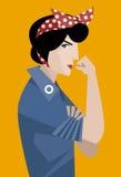 Donna femminista che tiene il suo braccio Immagini Stock