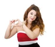 Donna in focolare rosso fotografia stock libera da diritti
