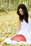 Donna in foresta Fotografia Stock