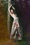 Donna in foresta leggiadramente Immagini Stock Libere da Diritti