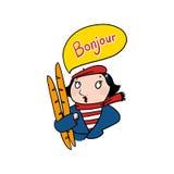 Donna francese che dice l'illustrazione del bonjour Fotografia Stock Libera da Diritti