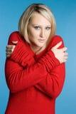 Donna fredda del maglione Fotografia Stock Libera da Diritti