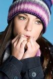 Donna fredda di inverno Fotografie Stock Libere da Diritti