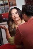 Donna frustrata in caffè Fotografia Stock Libera da Diritti
