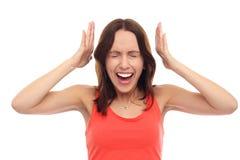 Donna frustrata che grida Fotografia Stock Libera da Diritti