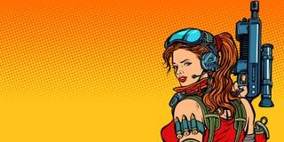 Donna futuristica con il primo piano delle pistole illustrazione di stock