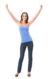 Donna gesturing felice, isolata Immagine Stock Libera da Diritti
