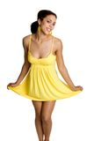 Donna gialla del vestito Fotografia Stock