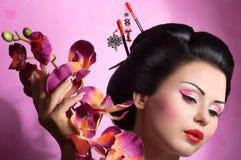 Donna giapponese della geisha Fotografia Stock