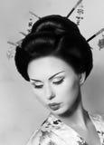 Donna giapponese della geisha Fotografie Stock Libere da Diritti