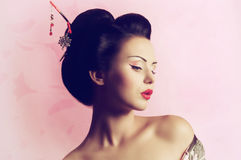 Donna giapponese della geisha Immagine Stock