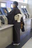 Donna giapponese nella stazione della metropolitana di Kyoto Fotografie Stock Libere da Diritti