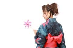 Donna giapponese in vestiti del kimono Fotografie Stock