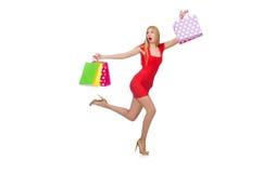 Donna giovane con i sacchetti di acquisto Immagini Stock Libere da Diritti