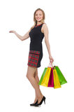 Donna giovane con i sacchetti di acquisto Fotografia Stock