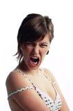 Donna giovane di grido arrabbiata isolata su bianco Immagine Stock Libera da Diritti