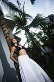 Donna in gonna bianca ed in reggiseno nero che posano appoggiandosi la palma fotografie stock